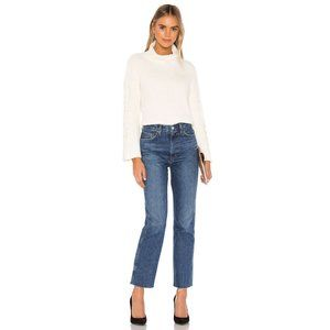 Bella Dahl Cable Sleeve Turtle Neck in White